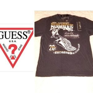 Guess, Mens, Size Large, Brown/Ivory T-shirt